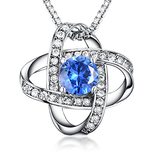 Casfine December Birthstone Pendant Necklace AAA Cubic Zirconia Blue Ocean Necklace Graduation Birthstone Necklace Exquisite Gift Package