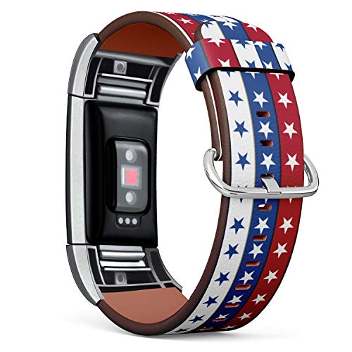 July 4th Patriotic Stars and Stripes Pattern - Patterned Leather Wristband Strap Compatible with Fitbit Charge 2