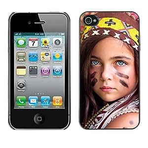 PC/Aluminum Funda Carcasa protectora para Apple Iphone 4 / 4S little indian devochka / JUSTGO PHONE PROTECTOR