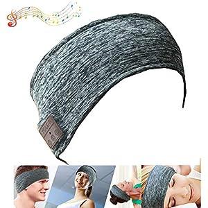 BGJOY Music Headband Sleep Headphones Sweatband with Wireless Headphone Headset Speaker Mic Handsfree Music Call Sport…