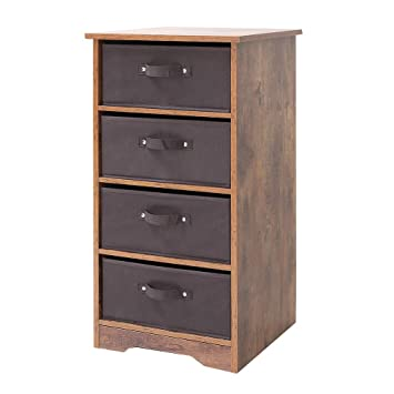 Iwell Wooden 4-Tier Dresser Storage Tower with Removable Drawer Chest,  Storage Organizer, Dresser for Small Rooms, Living Room, Bedroom, Closet,  ...