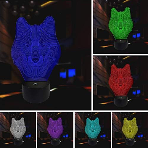 Resin Charger Plate - Animals Wolf 3D Night Light Touch Control Table Desk Lamps,7 Color Changing Lights with Acrylic Flat & ABS Base & USB Charger