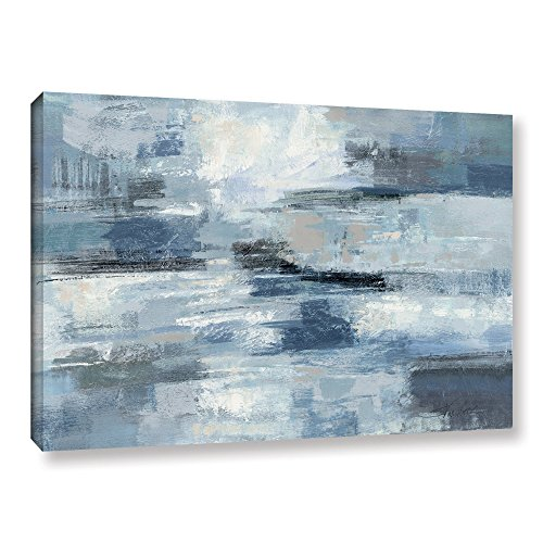 ArtWall Clear Water Indigo and Gray by Silvia Vassileva Blue Wall Art Abstract Gallery-Wrapped Canvas, 32X48, Picture for Home, Bedroom, Bathroom, and Living Room Decor Abstract Gallery Wrapped Canvas
