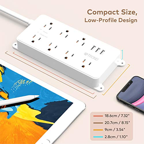 Power Strip Surge Protector, ETL Listed, TROND 7 Widely-Spaced Outlets Expansion with 3 USB Ports, Flat Plug, 1700 Joules, 5ft Extension Cord, Wall Mountable, White