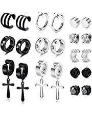 YADOCA 11 Pairs Non-piercing Cross Dangle Hoop Earrings Magnetic Stud Earrings Unisex Ear Hoop Cuff Helix Clip on Cartilage No Piercing Stainless Steel