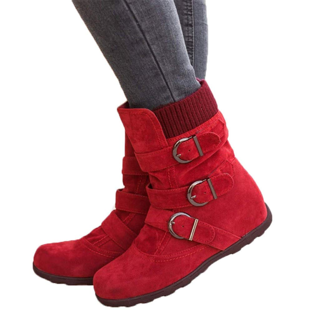 JOYTO Fur Winter Boots Women Mid Calf Flat Faux Suede Leather Ankle Slouch Warm Snow Booties High Top Slip On Side Zipper Buckle Black Brown Grey Red 2-8.5 J122601