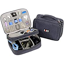 Electronics Organizer Travel Bag Accessories Cable Cord Gadget Gear Storage Cases for 8 inch Tablet (Gray)
