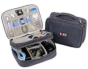 Electronics Organizer Travel Bag Accessories Cable Cord Gadget Gear Storage Cases iPad mini (Gray)