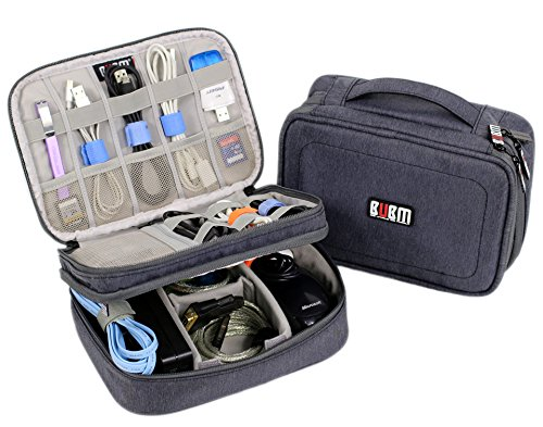 Electronics Organizer Travel Bag Accessories Cable Cord Gadget Gear Storage Cases iPad mini (Gray)