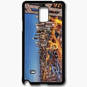 Unique Design Fashion Protective Back Cover For Samsung Galaxy Note 4 Case High Rise Chicago Evening Illinois Skyscrapers Black