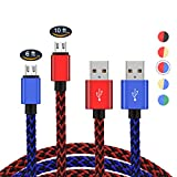 2 Pack PS4 Controller Charging Cable,Zwirelz Charging Cable for Xbox One Controller Nylon Braided Sync Cord Charger for Playstation 4 Dualshock 4 PS4 Slim/Pro, Android (Blue+Red)