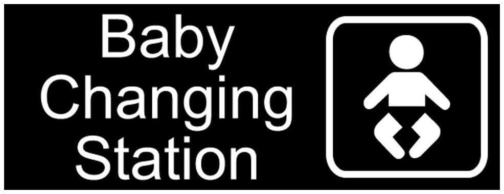 Señal de Metal Grabado para Cambiador de bebé, con inglés y símbolo, Color Negro