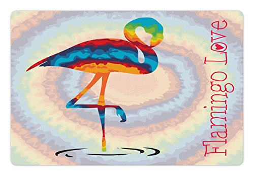 Ambesonne Flamingo Pet Mat for Food and Water, Single Flamingo Rainbow Colors Tie Dye Style Background Animal World Artwork Print, Rectangle Non-Slip Rubber Mat for Dogs and Cats, Multicolor by Ambesonne (Image #2)