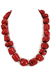 """Red Sea Blood Coral Nugget Knotted Necklace with Silver Tone Toggle 18"""" N15072325g"""
