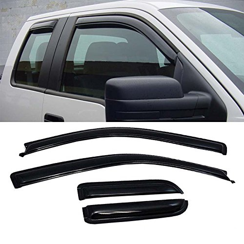 07 Ford F150 Super Cab - Mifeier 4pc Sun/Rain Guard Vent Shade Window Visor Wind Deflector For 04-08 F150 Super/Extended Cab(2 half size rear-hinged suiside style rear doors)