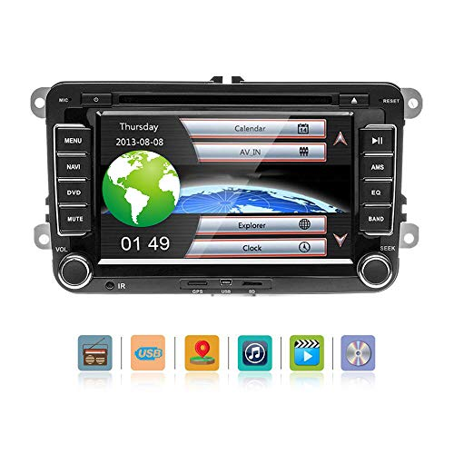 Podofo Bluetooth Car Stereo Double Din 7 Inch HD Touch Screen DVD Player DVD Navigation GPS Stereo,AVI/FM/USB/MP4/MP3/USB/CD/AUX/FM/iPod/iPhone for Volkswage + Remote Control