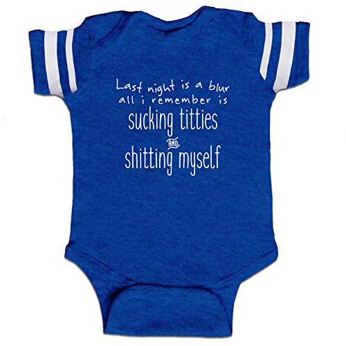 (Decal Serpent Last Night Is A Blur Funny Baby Boy Bodysuit Infant - Royal Stripes - 18)
