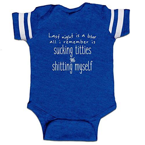 Last Night Is A Blur Funny Baby Boy Bodysuit Infant – Royal Stripes – 6 Month