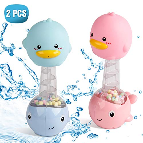 - Mini Tudou Baby Bath Water Squirt Toys 2PCS Shake Rattle Squeaky Floating Rubber Duck and Whale Maraca Playing Gift for Kids Toddlers (Blue and Pink)