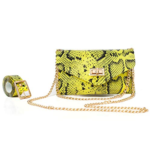 - justHIGH's Bags Women Messenger Bag + Fanny Pack Snakeskin Leather Waist Pack Fashion Purse Belt Bag (Yellow)
