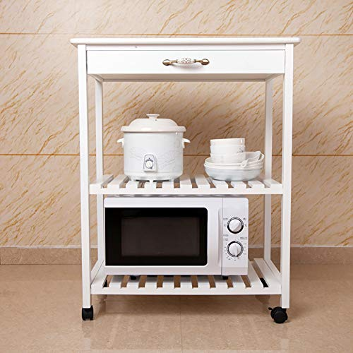 Microwave Oven Rack Kitchen Rack, Floor Solid Wood Multi-Layer Storage Rack Removable Multi-Function Trolley, with Universal Wheel by Kitchen Cart (Image #5)