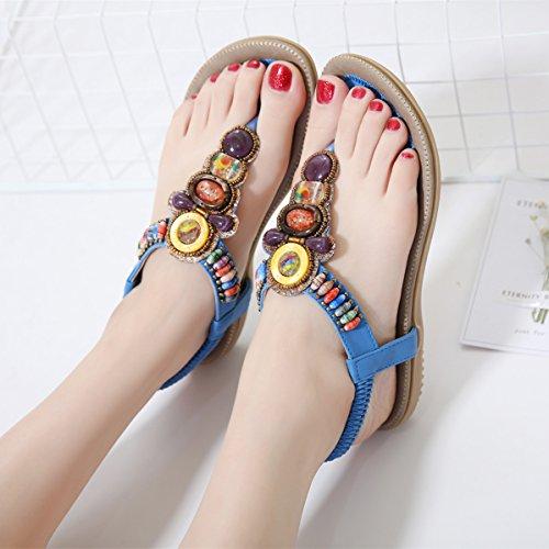 Planos de Cuentas con Playa Chanclas Verano Azul Bohemia de Sandalias Cuero Zapatos Tira Mujer gqvxw0