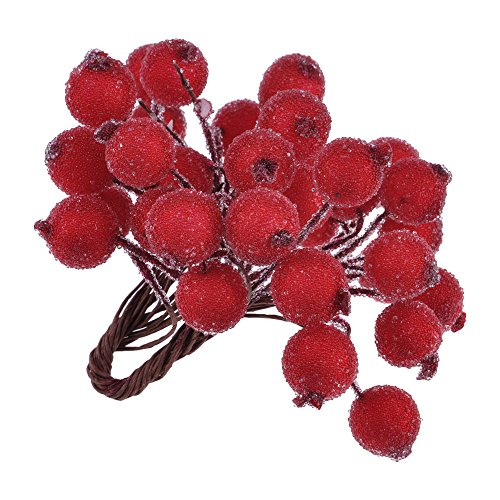 HuntGold 1 Bunch(40pcs) Christmas Faux Artificial Berry On Wire Stems 12mm Realistic Fake Fruit Berries Branch Wreath for Xmas Tree Decor(Red)