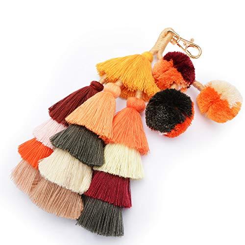 USONG Colorful Boho Pom Pom Tassel Bag Charm Key Chain Summer Straw Bag Pendant car Pendant