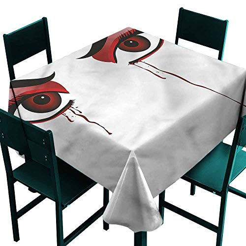 DONEECKL Oil-Proof and Leak-Proof Tablecloth Vampire Red Eyes Dropping Blood for Kitchen Dinning Tabletop Decoration W63 xL63 ()