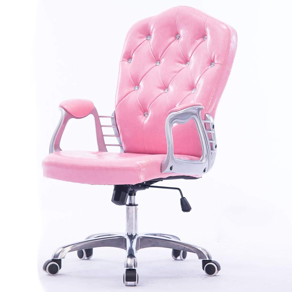 Kontorsstol faux läder svängbar dator skrivbord stol justerbar - hemmakontor studierum möbler, rosa Rosa