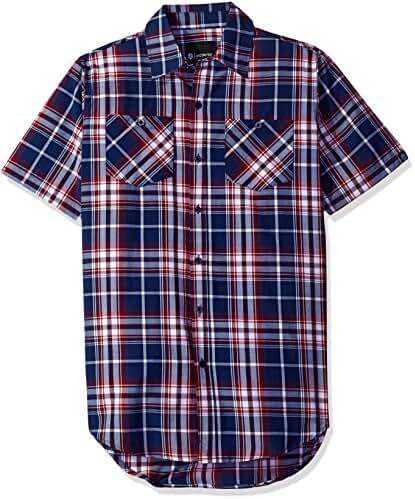 Akademiks Men's Plaid Short Sleeve Button Down Tops