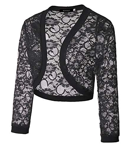 ROOSEY Dresses Sleeve for 4 Sheer Bolero Crochet Lace Women's 3 Shrug Black Cardigan rTUHq4rP