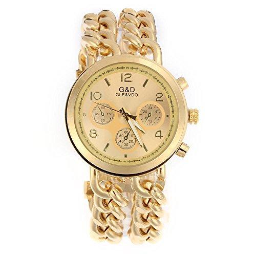 Easy Provider® Damen Modeuhr Armbanduhr Armreifen Armkette Uhr Damenuhr Gold Charms