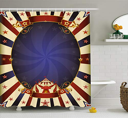 Ambesonne Vintage Shower Curtain, Circus Theme Retro Carnival Tent Ribbon Figures Poster Like Image, Cloth Fabric Bathroom Decor Set with Hooks, 75 Inches Long, Navy Blue