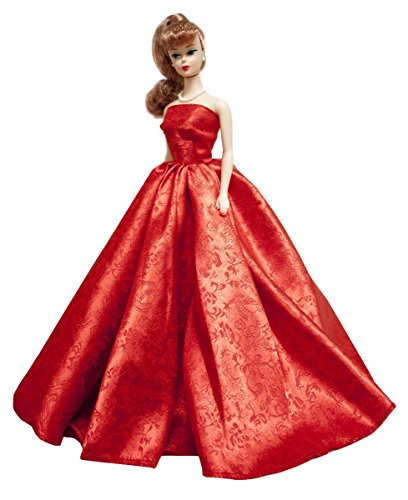 Barbie Strapless Christmas Red Satin Gown with Elegant Vine Background , Barbie Satin Gown by Peregrine