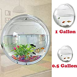Fish Bowl Wall Mount Betta Tank Aquarium Round Hanging 1 Gallon Bubble Acrylic / S