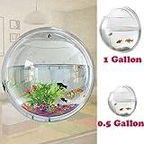Fish Bowl Wall Mount Betta Tank Aquarium Round Hanging 1 Gallon Bubble Acrylic / S