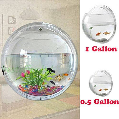 Fish Bowl Wall Mount Betta Tank Aquarium Round Hanging 1 Gallon Bubble Acrylic / S ()
