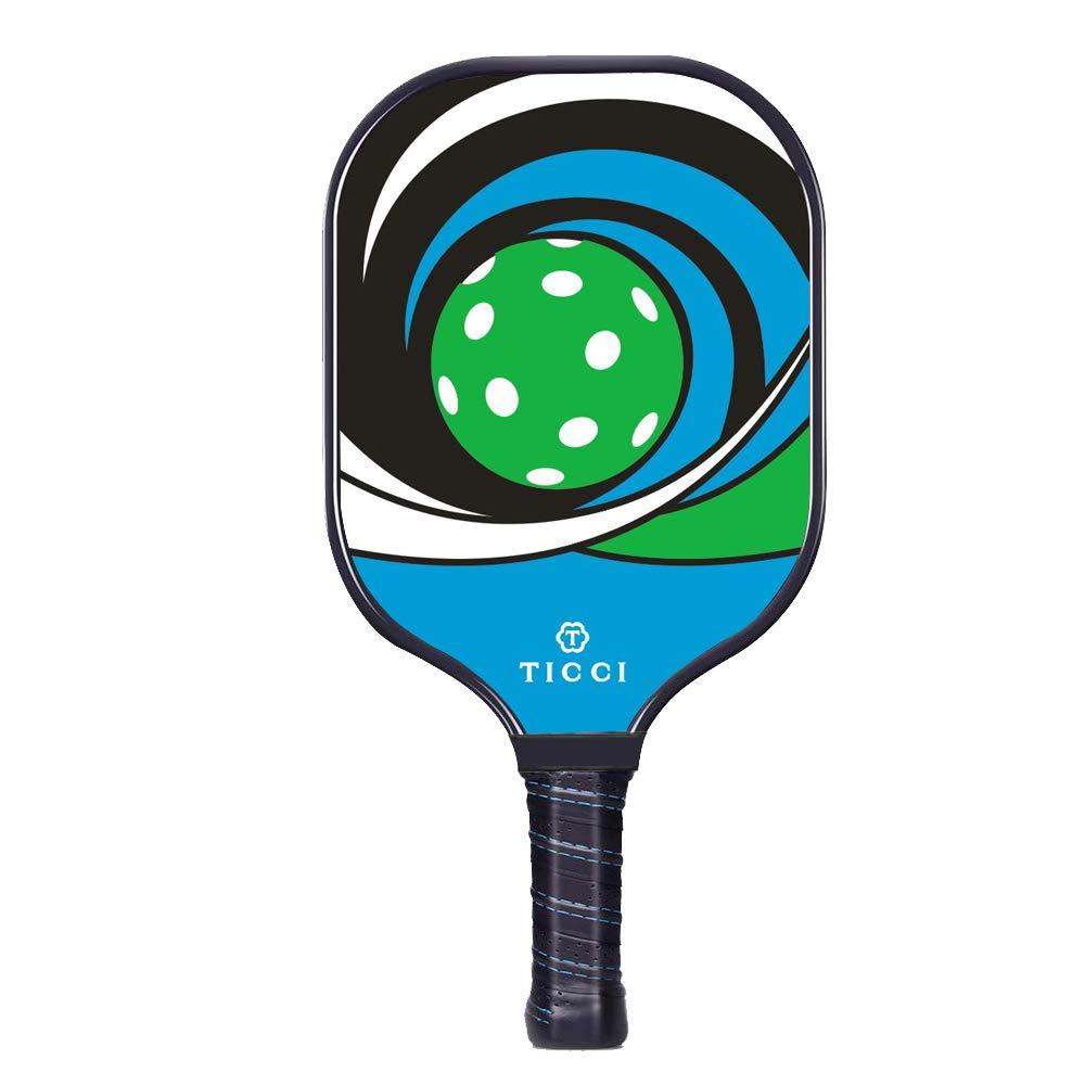 TICCI Pickleball Paddle Fiberglass Face Pickleball Racket Lightweight Honeycomb Composite Core Pickleball Racquet (Fiberglass Green Blue) by T TICCI
