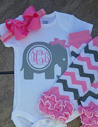 1c9c5007 Amazon.com: Baby Girl's Elephant Monogram Shirt / Monogram Elephant ...