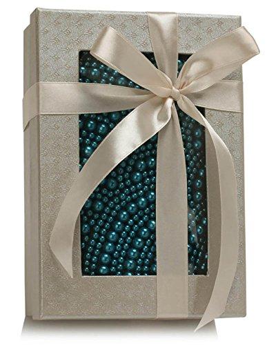 Designer Beaded Wedding Handbag Pearl Womens Bridal Party Teal Hardcase 1 Clutch Box Purse Design Evening Ladies Bag Rhinestone Prom wRWq6SH