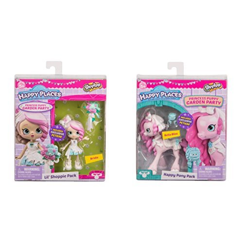 Shopkins Happy Places Princess Puppy Garden Party lil' shoppie Pack Bridie and Bella Bliss Happy Pony Pack by Shopkins
