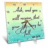 3dRose dc_150078_1 Bible Verse John 16-24 Gradient Pastel Bible Christian Inspirational Saying Desk Clock, 6 by 6''