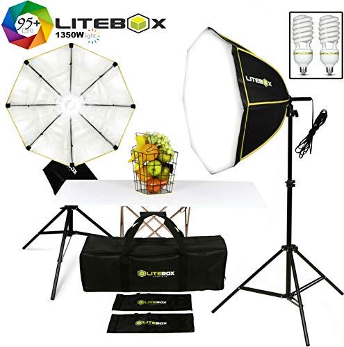 Photo Studio Lighting kit, LITEBOX Pro Video Lighting (Continuous Output) - Octagon Softbox Lighting Kit (Pair)