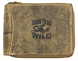 Men's Metal Zip-around Natural Genuine Leather Wallet Born to Be Wild with Scorpion