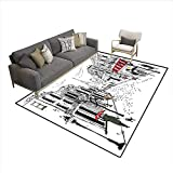 Carpet,Old French Pedestrians Stores Trees and The Silhouette of Eifffel Urban Illustration,Customize Rug Pad,Multicolor 6'x8'