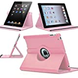 Pink 360 Degrees Rotating Stand Leather Case for Ipad 2 2nd Generation