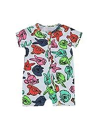 Sumen Newborn Baby Girl Boy Short Sleeve Fox Print Jumpsuit Romper Outfits Clothes