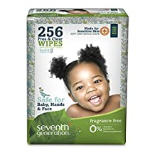 Seventh Generation, Baby, Free & Clear Wipes, Unscented, 256 Wipes by Seventh Generation