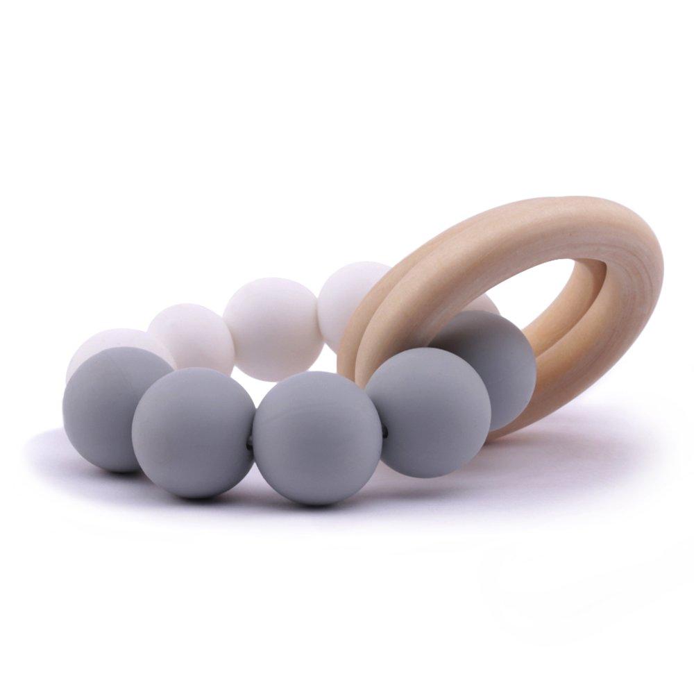 Best for baby Beiß ring aus Holz Silikon Beiß ring Baby Armband Silikonperlen Handarbeit Babyzahnspielzeug Geschenk Sinnesspielzeug